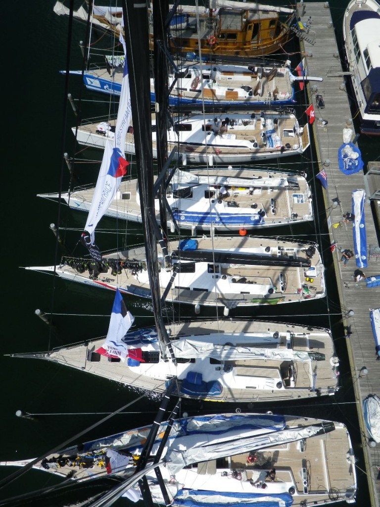 die SWAN Flotte aus der 30m hohen Mastspitze in Warnemünde